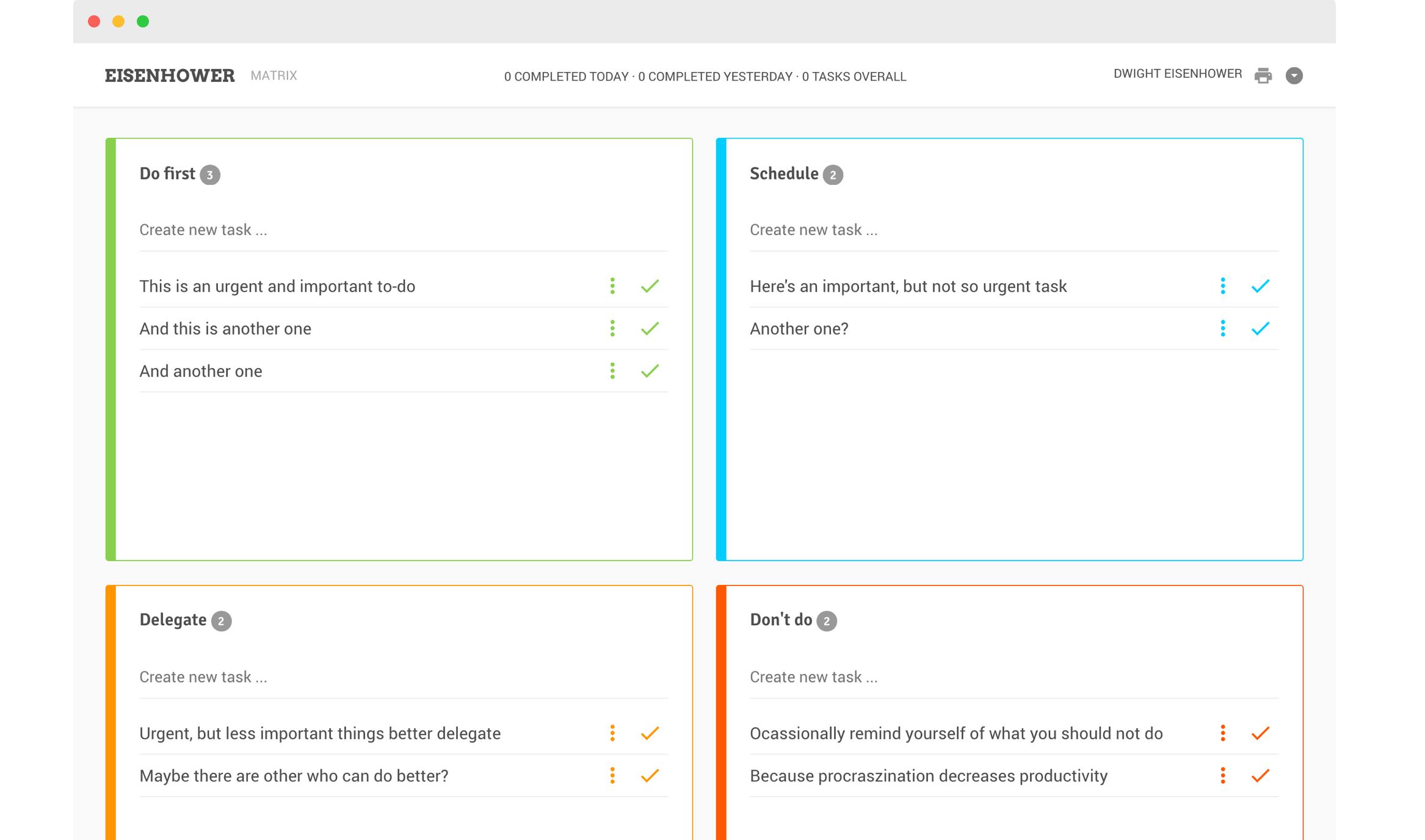 eisenhower app main interface