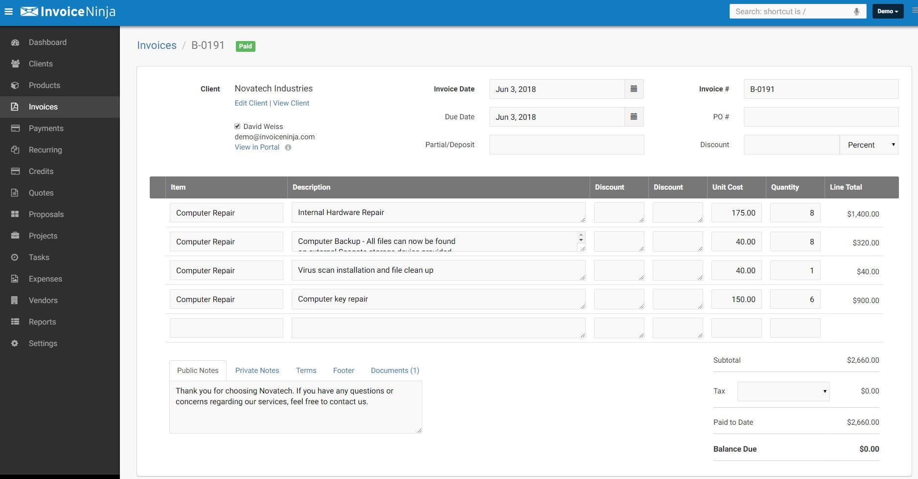 invoice ninja main dashboard