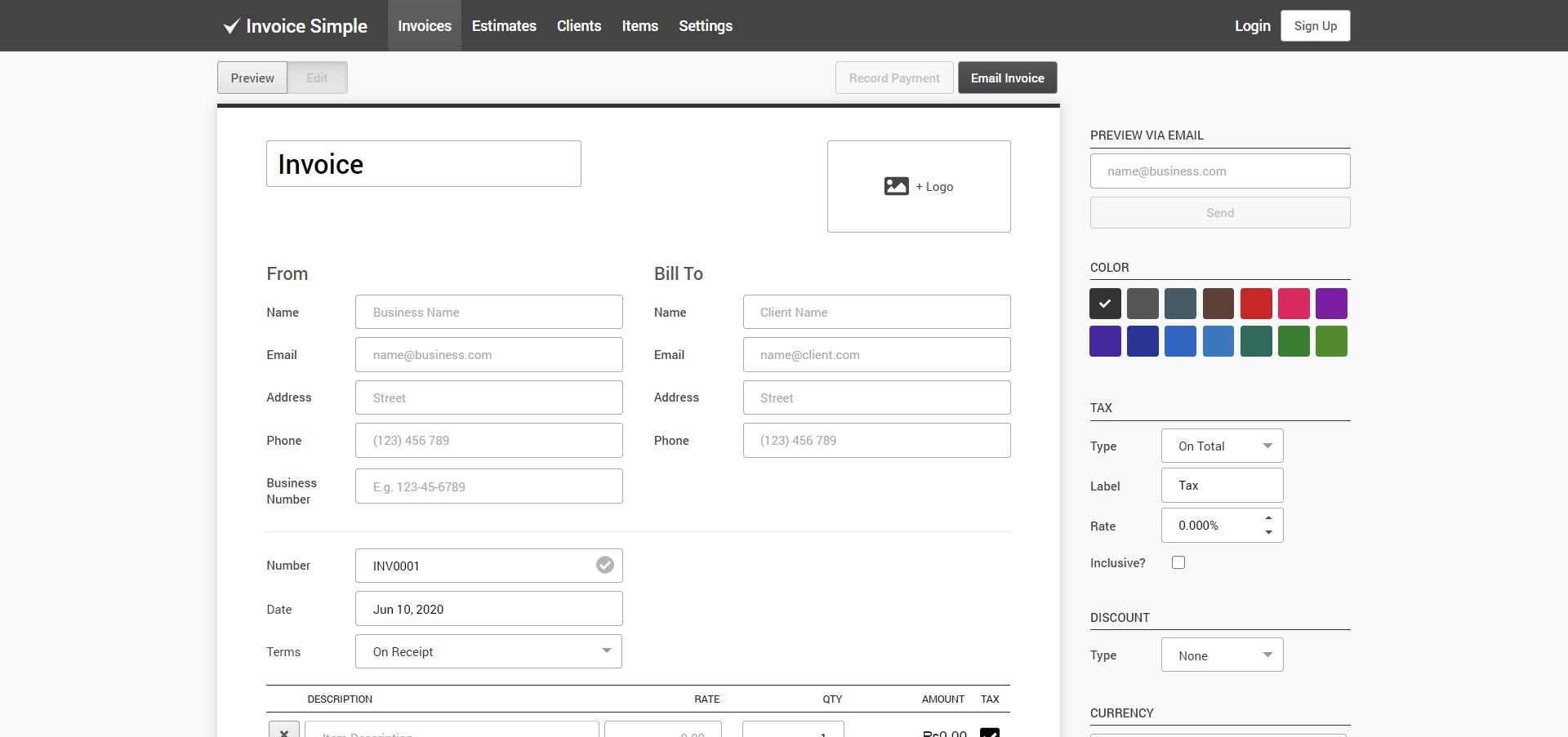 invoice simple invoicing dashboard