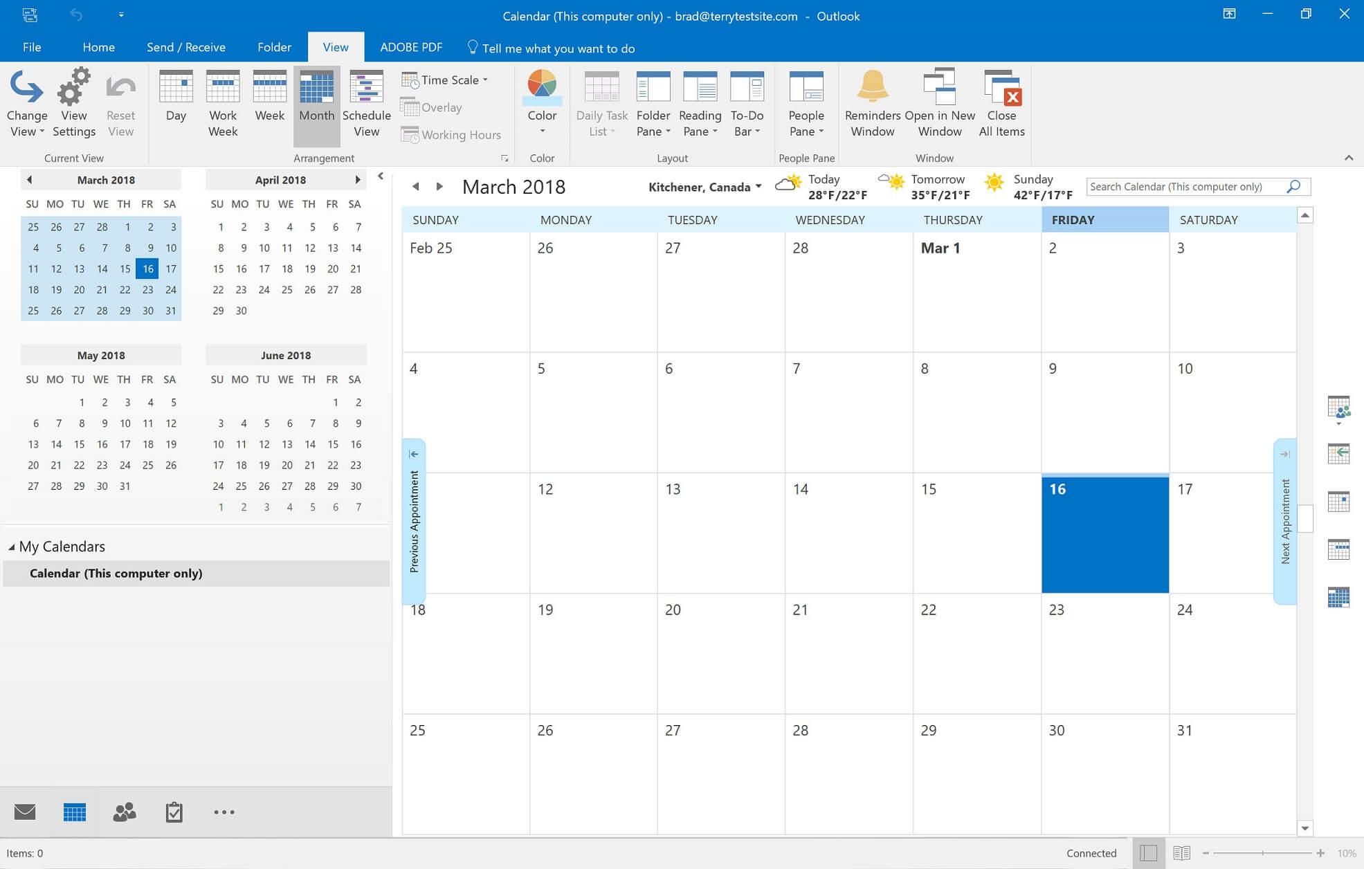 outlook calendar main dashboard